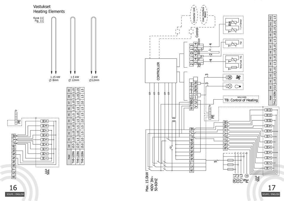 LIGT STBY STBY DRAIFILLFA 3 3 Temp Fuse 2 1 1 D 1 3 3 D 2 TS1 TS2 2 DOOR SESOR T/ Control Contactor Unit User Interface Board