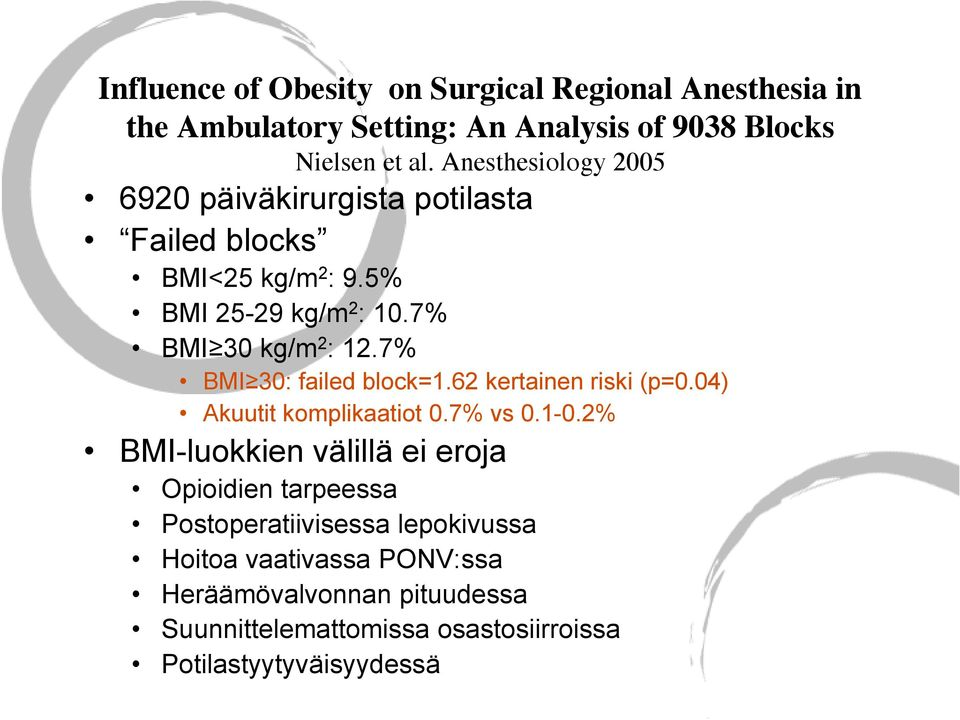 7% BMI 30: failed block=1.62 kertainen riski (p=0.04) Akuutit komplikaatiot 0.7% vs 0.1-0.