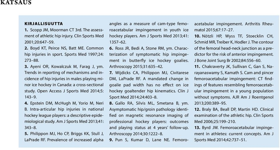 Open Access J Sports Med 2014;5: 143 9. 4. Epstein DM, McHugh M, Yorio M, Neri B. Intra-articular hip injuries in national hockey league players: a descriptive epidemiological study.