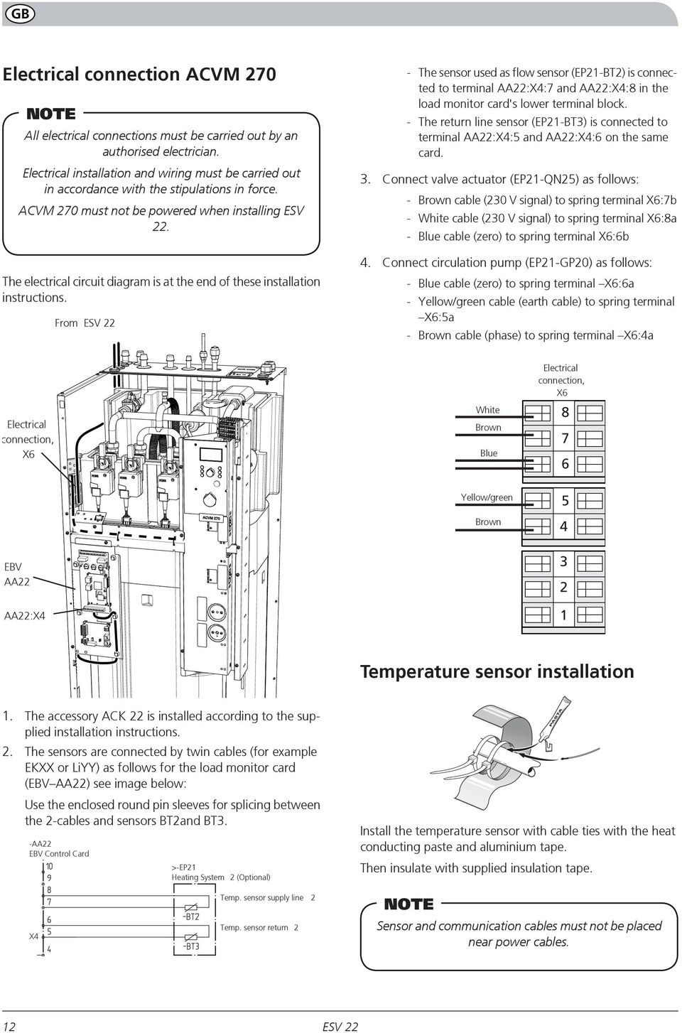 The electrical circuit diagram is at the end of these installation instructions.
