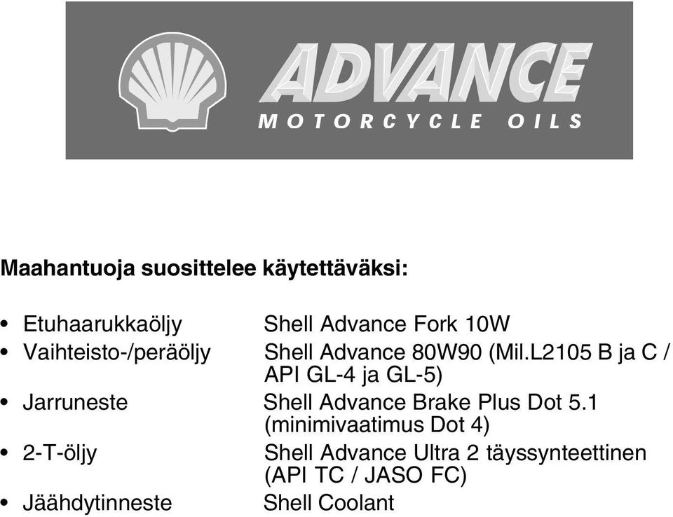 L2105 B ja C / API GL-4 ja GL-5) Jarruneste Shell Advance Brake Plus Dot 5.