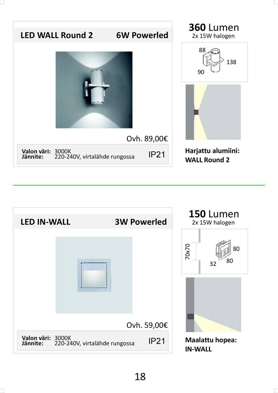 WALL Round 2 150 Lumen 2x 15W halogen 70x70 LED IN-WALL IP21 80 32 80