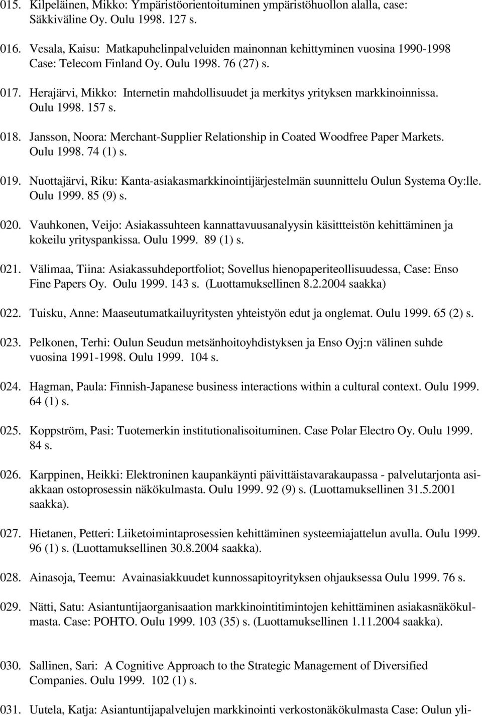 Herajärvi, Mikko: Internetin mahdollisuudet ja merkitys yrityksen markkinoinnissa. Oulu 1998. 157 s. 018. Jansson, Noora: Merchant-Supplier Relationship in Coated Woodfree Paper Markets. Oulu 1998. 74 (1) s.