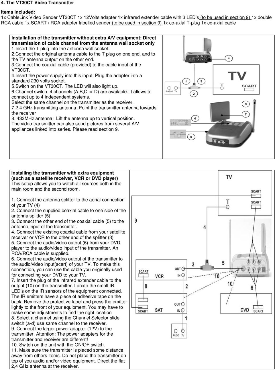 antenna wall socket only 1.Insert the T plug into the antenna wall socket. 2.Connect the original antenna cable to the T plug on one end, and to the TV antenna output on the other end. 3.