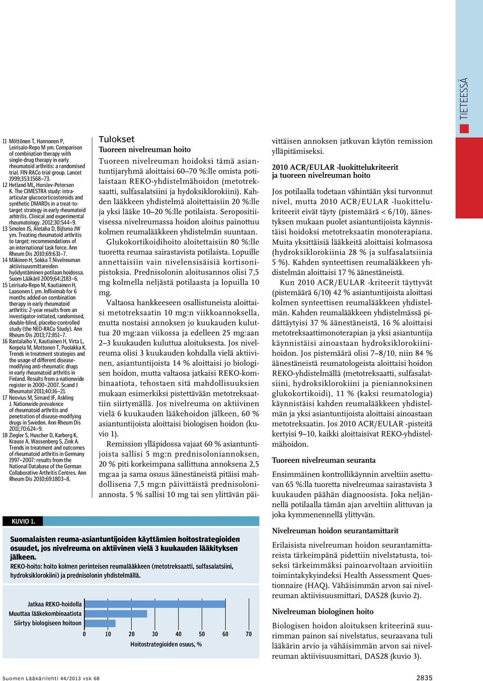 Clinical and experimental rheumatology. 2012;30:S44 9. 13 Smolen JS, Aletaha D, Bijlsma JW ym. Treating rheumatoid arthritis to target: recommendations of an international task force.