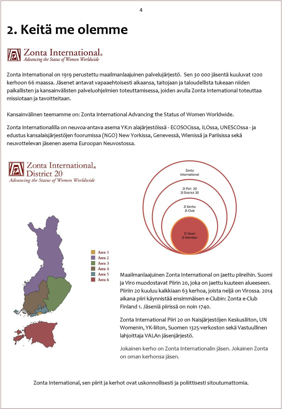 missiotaan ja tavoitteitaan. Kansainvälinen teemamme on: Zonta International Advancing the Status of Women Worldwide.
