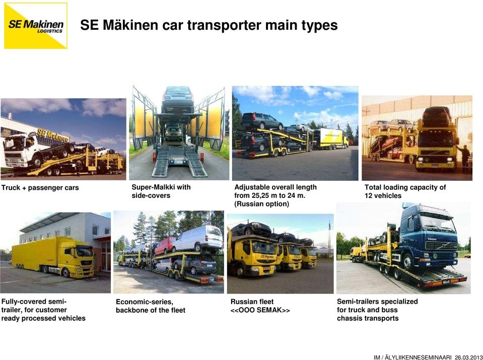 (Russian option) Total loading capacity of 12 vehicles Fully-covered semitrailer, for customer