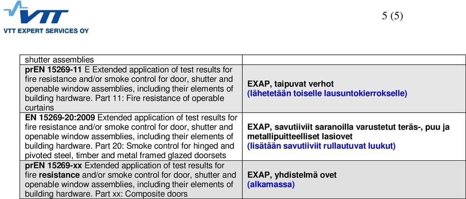 Part 20: Smoke control for hinged and pivoted steel, timber and metal framed glazed doorsets pren 15269-xx Extended application of test results for building