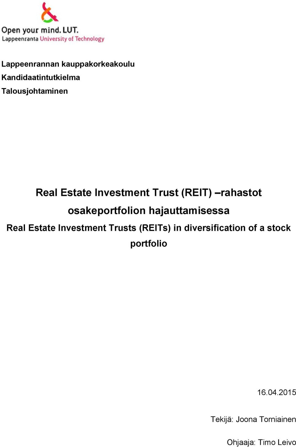 hajauttamisessa Real Estate Investment Trusts (REITs) in