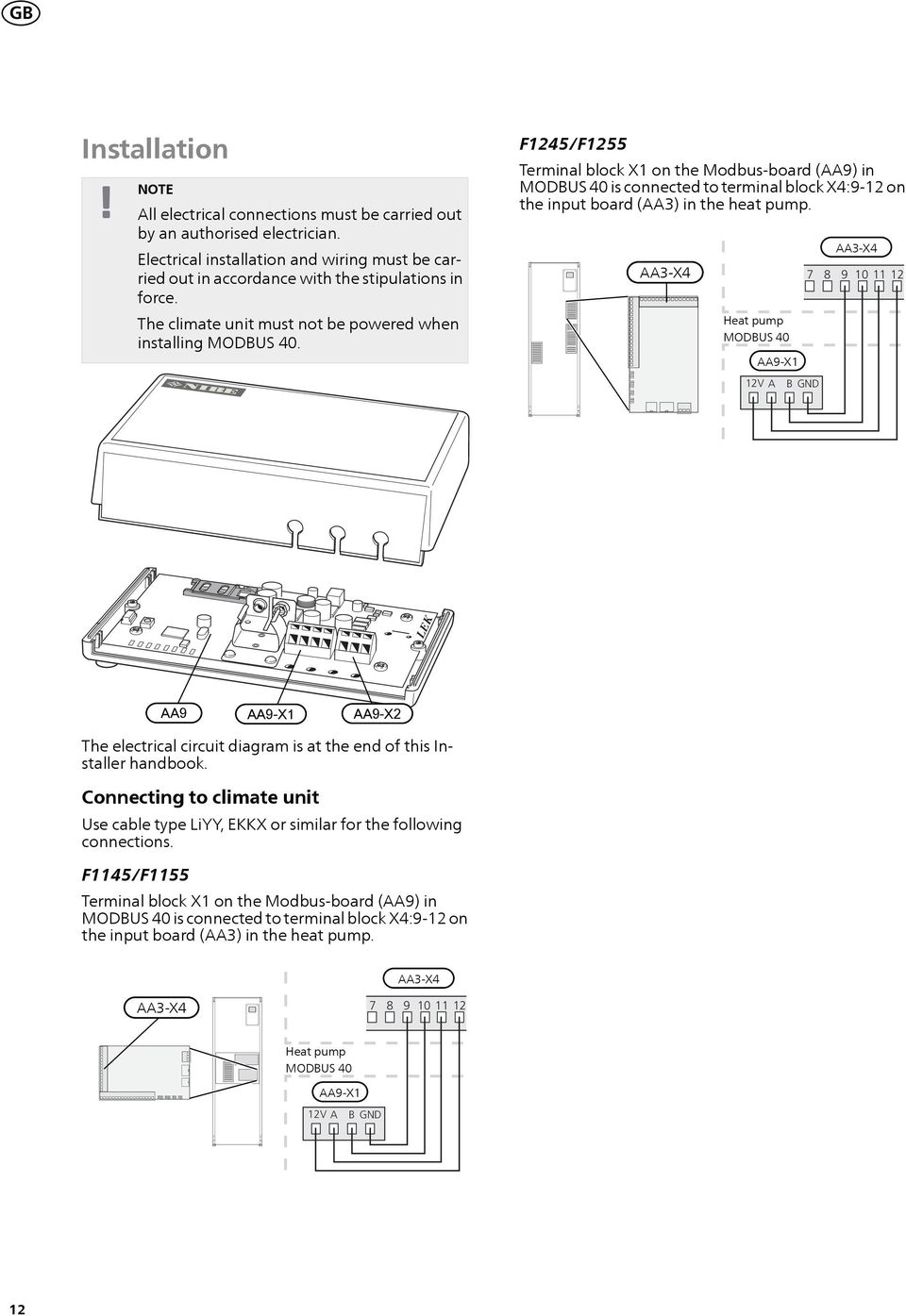 Heat pump 7 8 9 10 11 12 12V A B GND LEK AA9 AA9-X2 The electrical circuit diagram is at the end of this Installer handbook.