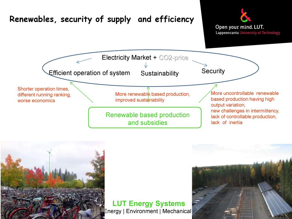 production, improved sustainability Renewable based production and subsidies More uncontrollable renewable based