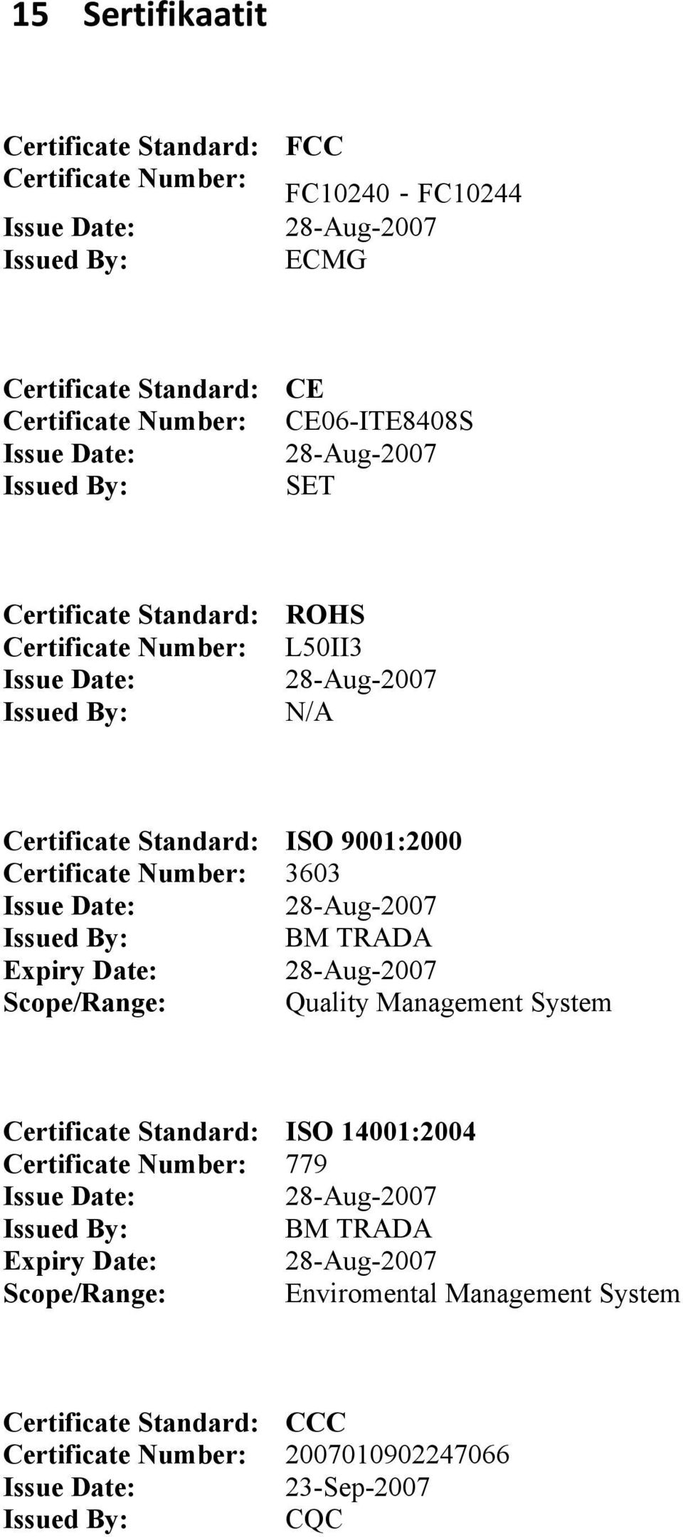 Expiry Date: Scope/Range: ISO 9001:2000 3603 28-Aug-2007 BM TRADA 28-Aug-2007 Quality Management System Certificate Standard: Certificate Number: Issue Date: Issued By: Expiry Date: