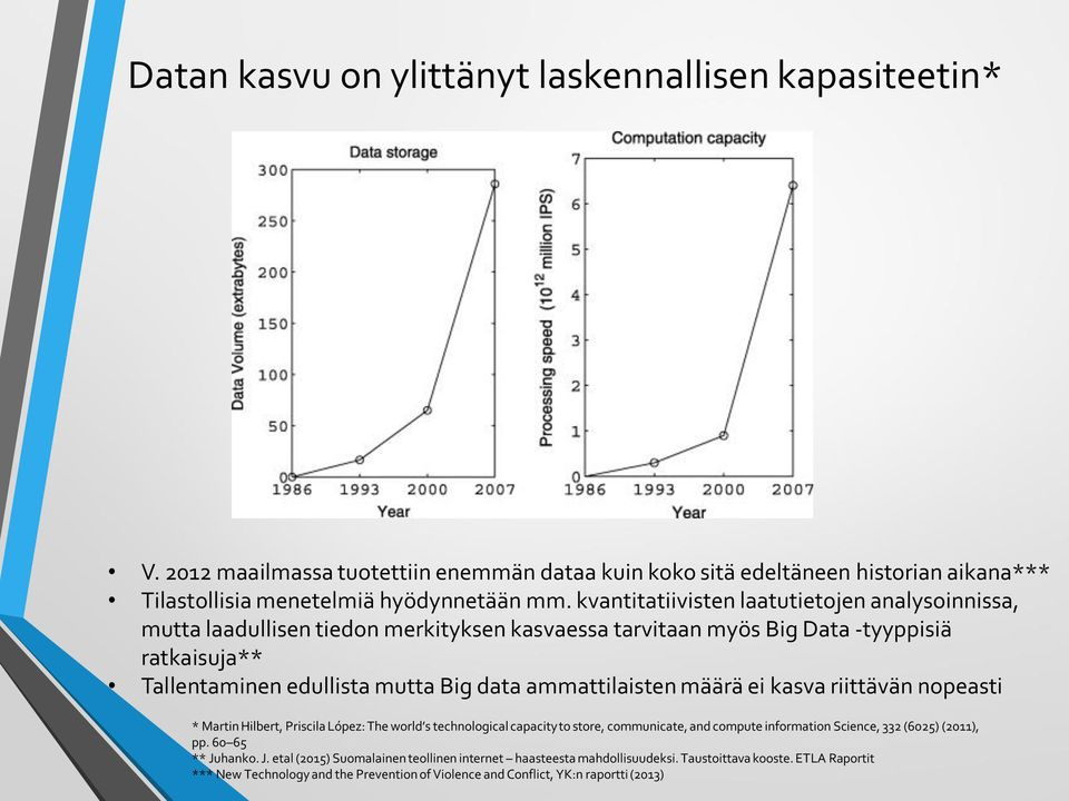 ammattilaisten määrä ei kasva riittävän nopeasti * Martin Hilbert, Priscila López: The world s technological capacity to store, communicate, and compute information Science, 332 (6025) (2011),