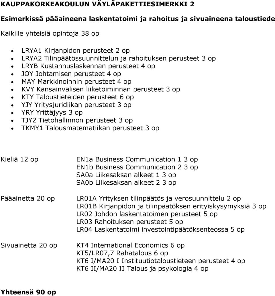 Kieliä 12 op Pääainetta 20 op Sivuainetta 20 op EN1a Business Communication 1 3 op EN1b Business Communication 2 3 op SA0a Liikesaksan alkeet 1 3 op SA0b Liikesaksan alkeet 2 3 op LR01A Yrityksen
