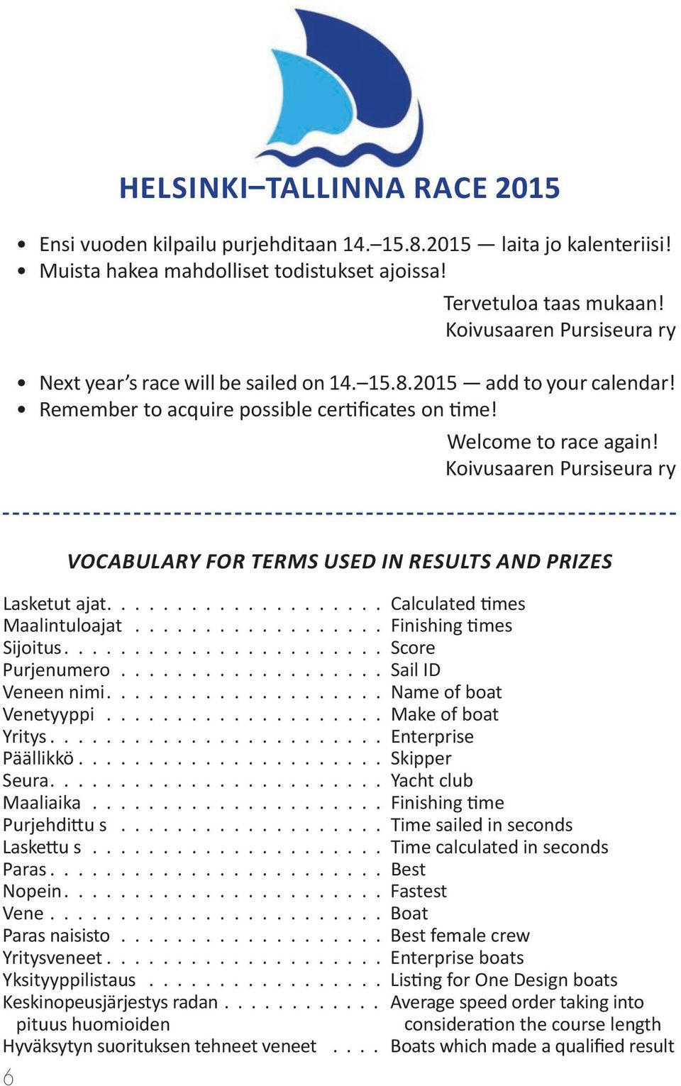Koivusaaren Pursiseura ry 6 Vocabulary for terms used in results and prizes Lasketut ajat.................... Calculated times Maalintuloajat.................. Finishing times Sijoitus.