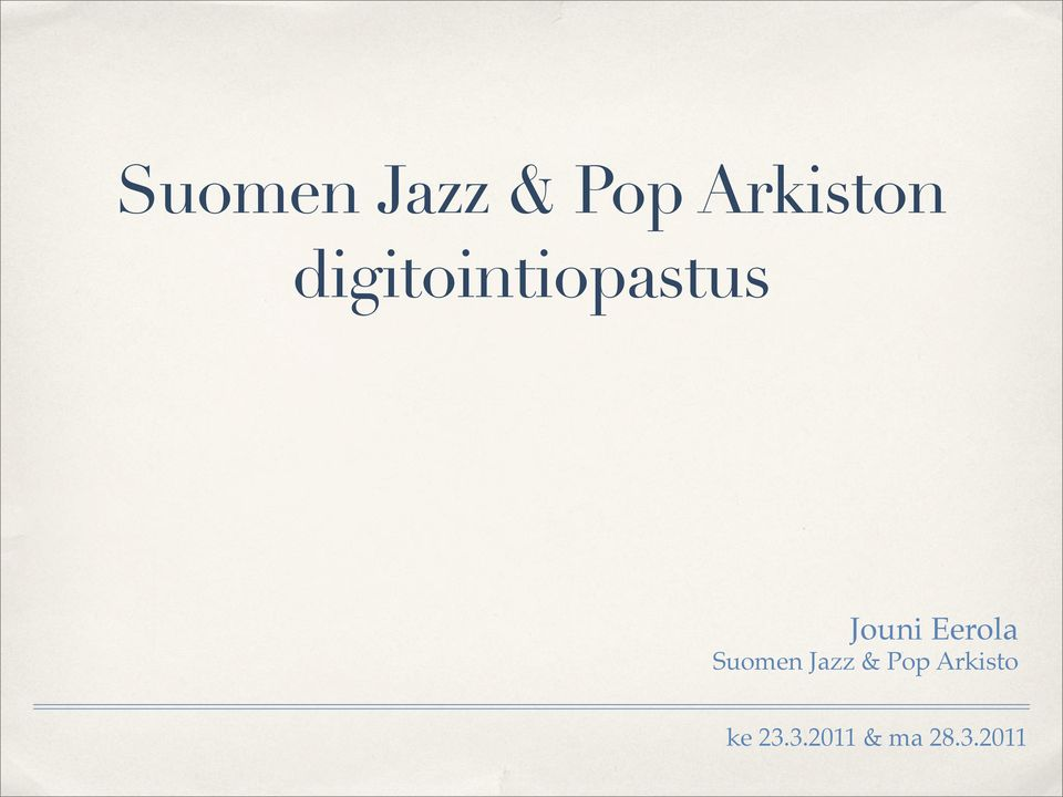 Eerola Suomen Jazz & Pop