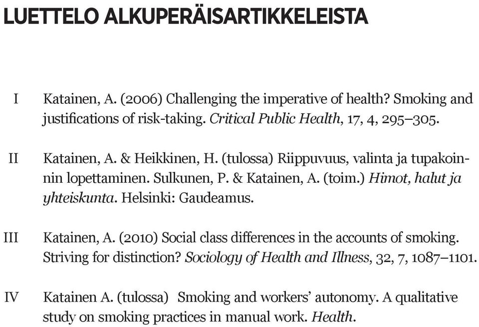 (toim.) Himot, halut ja yhteiskunta. Helsinki: Gaudeamus. Katainen, A. (2010) Social class differences in the accounts of smoking. Striving for distinction?
