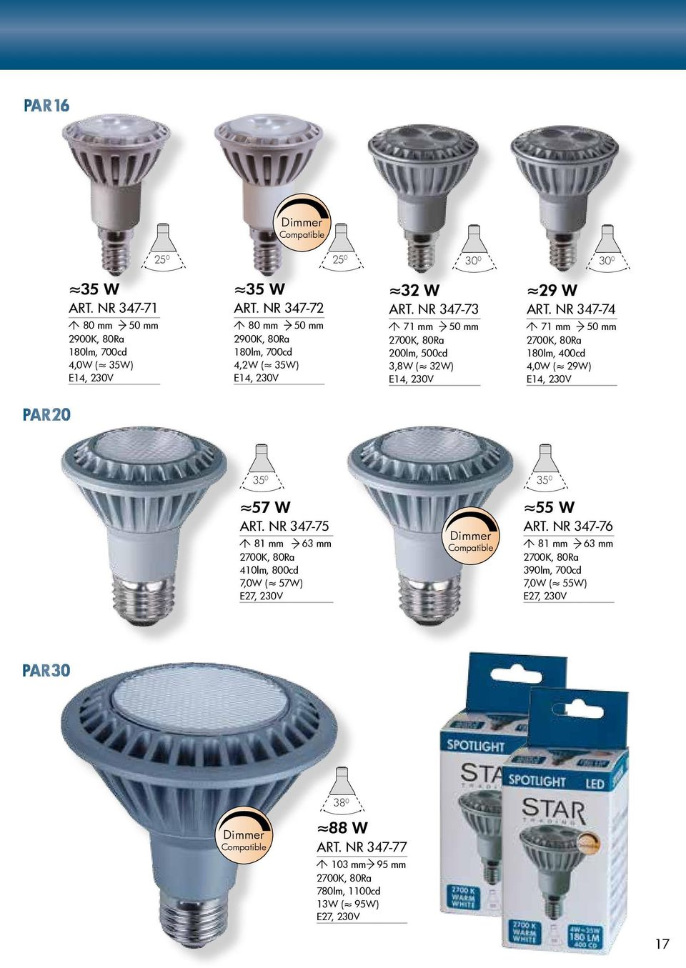 NR 347-74 71 mm 50 mm 180lm, 400cd 4,0W ( 29W) PAR 20 35 0 35 0 57 W ART.