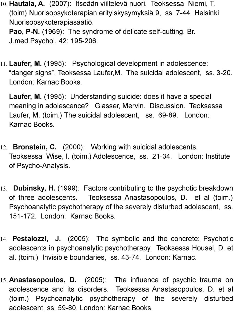 The suicidal adolescent, ss. 3-20. London: Karnac Books. Laufer, M. (1995): Understanding suicide: does it have a special meaning in adolescence? Glasser, Mervin. Discussion. Teoksessa Laufer, M.