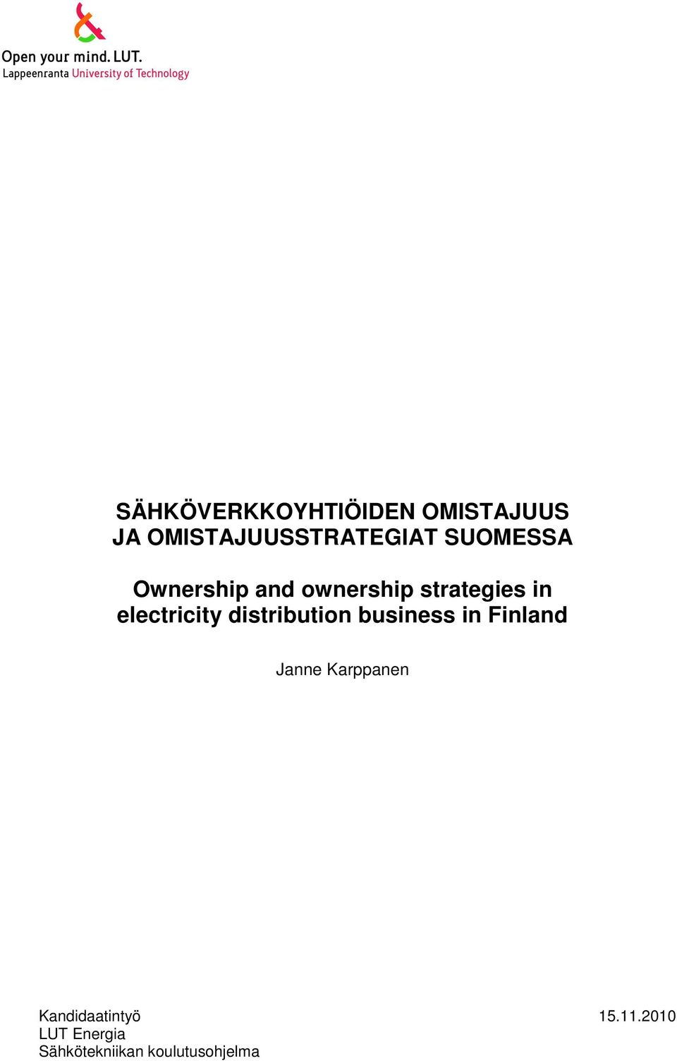 electricity distribution business in Finland Janne