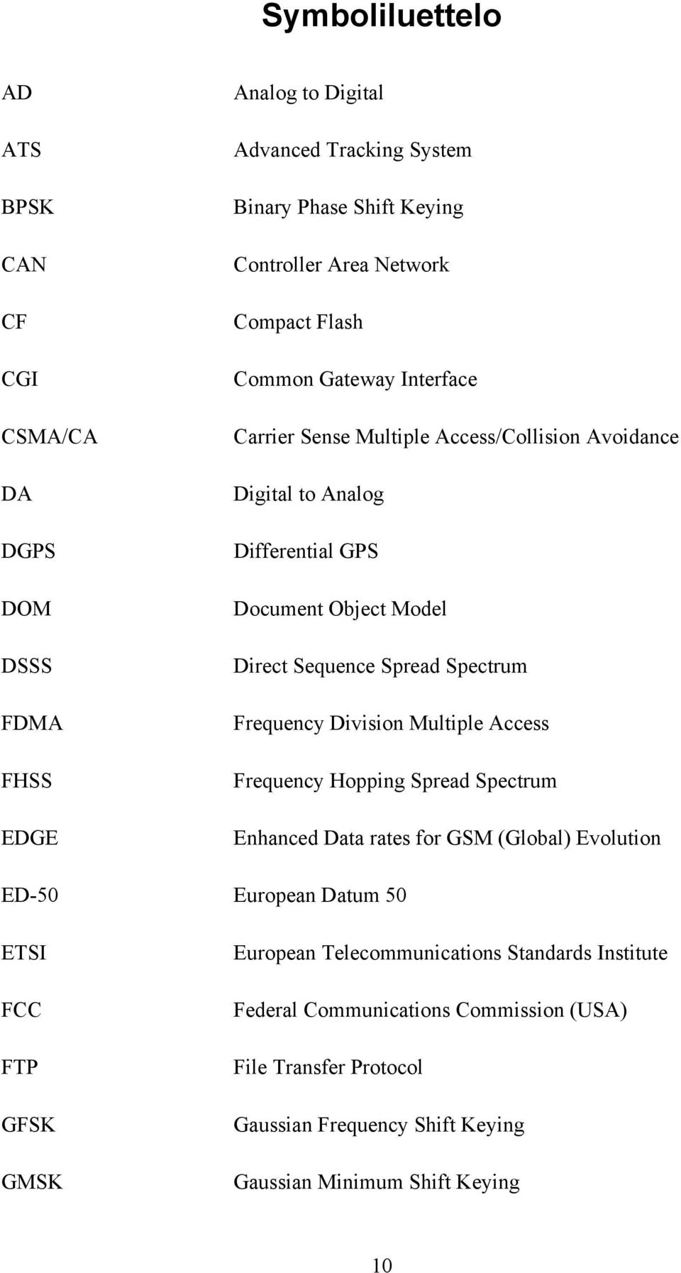 Spectrum Frequency Division Multiple Access Frequency Hopping Spread Spectrum Enhanced Data rates for GSM (Global) Evolution ED-50 European Datum 50 ETSI FCC FTP GFSK GMSK