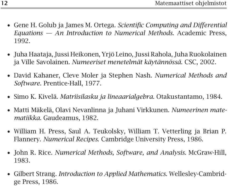 Numerical Methods and Software. Prentice-Hall, 1977. Simo K. Kivelä. Matriisilasku ja lineaarialgebra. Otakustantamo, 1984. Matti Mäkelä, Olavi Nevanlinna ja Juhani Virkkunen. Numeerinen matematiikka.