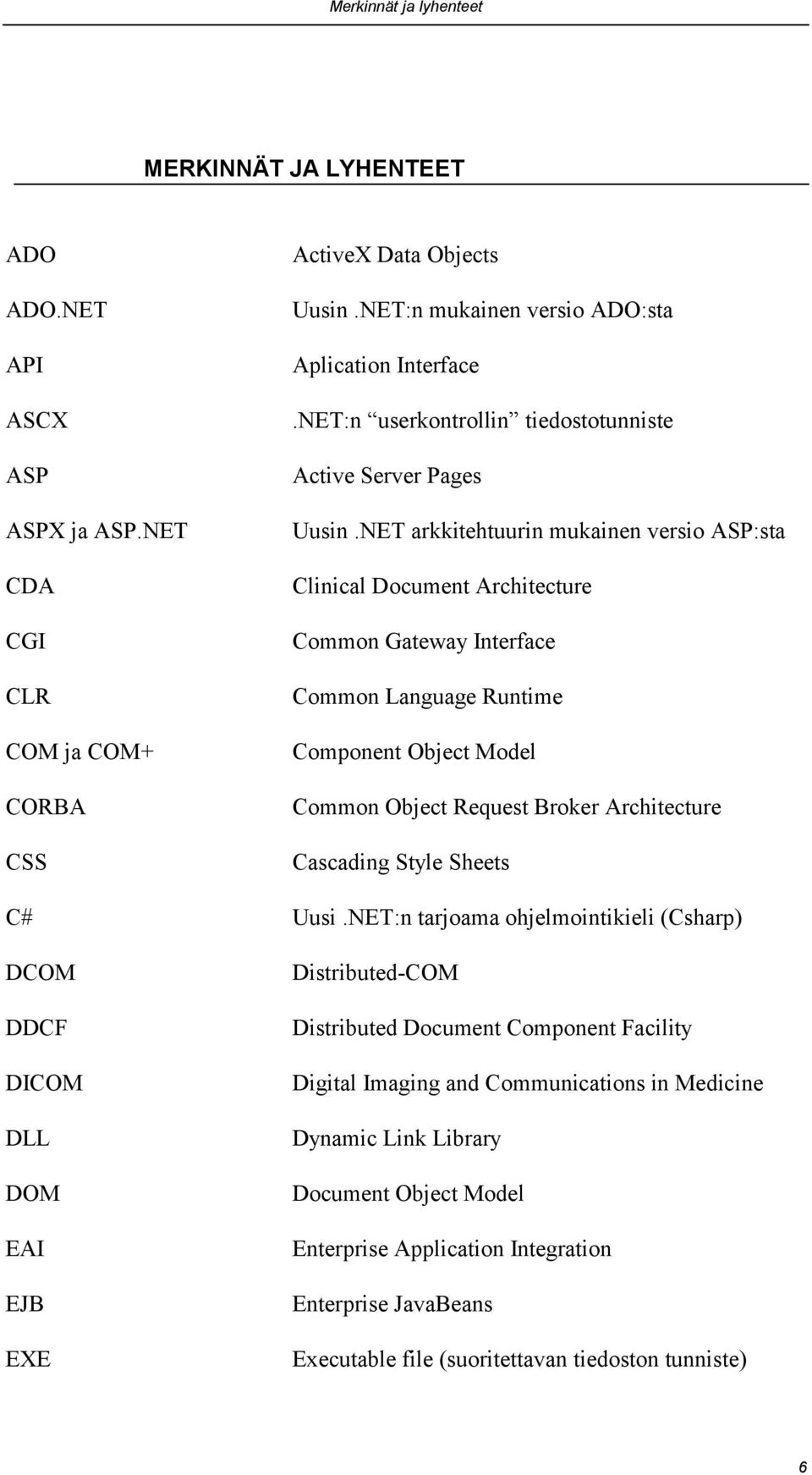 NET arkkitehtuurin mukainen versio ASP:sta Clinical Document Architecture Common Gateway Interface Common Language Runtime Component Object Model Common Object Request Broker Architecture Cascading