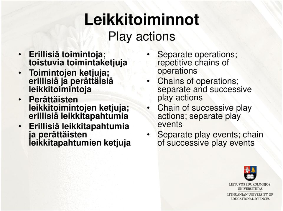 perättäisten leikkitapahtumien ketjuja Separate operations; repetitive chains of operations Chains of operations; separate