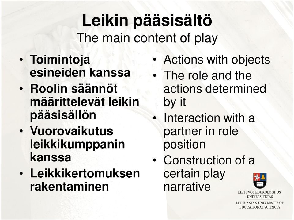 Leikkikertomuksen rakentaminen Actions with objects The role and the actions