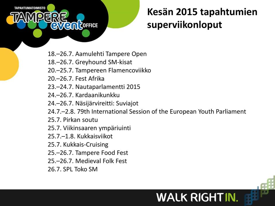 79th International Session of the European Youth Parliament 25.7. Pirkan soutu 25.7. Viikinsaaren ympäriuinti 25.7. 1.8.