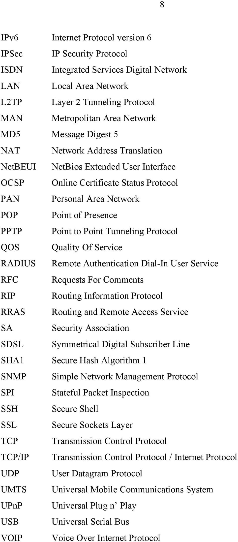 Protocol QOS Quality Of Service RADIUS Remote Authentication Dial-In User Service RFC Requests For Comments RIP Routing Information Protocol RRAS Routing and Remote Access Service SA Security