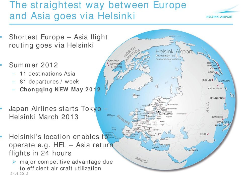 May 2012 Japan Airlines starts Tokyo Helsinki March 2013 Helsinki s location enables to operate