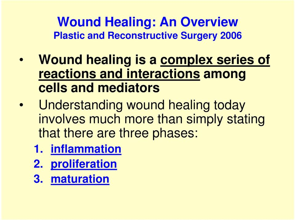 mediators Understanding wound healing today involves much more than simply