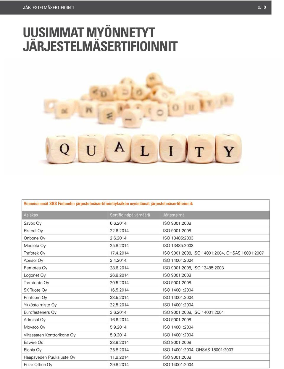 6.2014 ISO 9001:2008 Elsteel Oy 22.6.2014 ISO 9001:2008 Onbone Oy 2.6.2014 ISO 13485:2003 Medieta Oy 25.8.2014 ISO 13485:2003 Trafotek Oy 17.4.2014 ISO 9001:2008, ISO 14001:2004, OHSAS 18001:2007 Aprisol Oy 3.