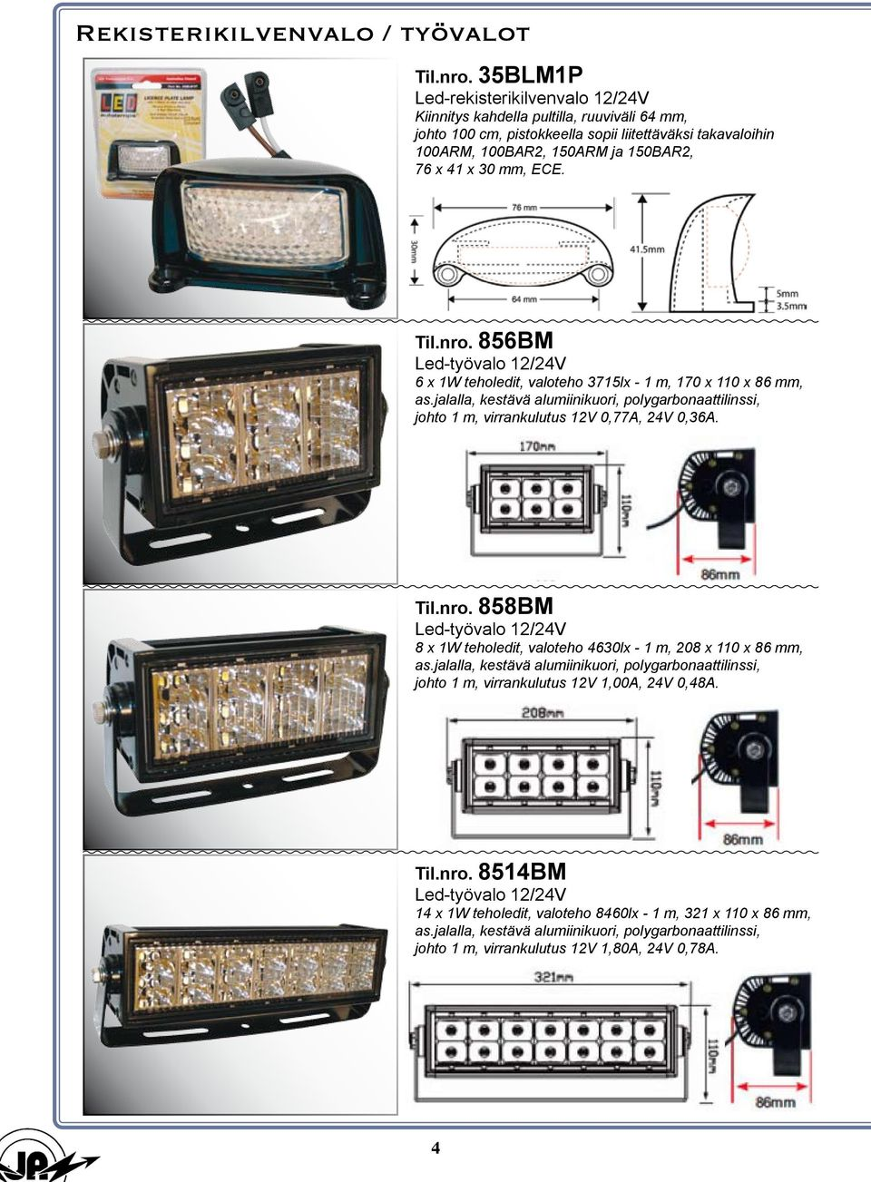 ECE. Til.nro. 856BM Led-työvalo 12/24V 6 x 1W teholedit, valoteho 3715lx - 1 m, 170 x 110 x 86 mm, as.