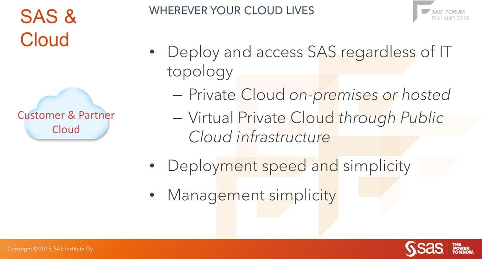 Cloud on-premises or hosted Virtual Private Cloud through Public