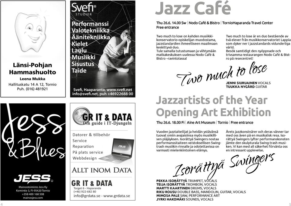 Tule samalla tutustumaan ja viihtymään matkakeskuksen uudessa Nodo Café & Bistro ravintolassa! Two much to lose Jazzartists of the Year Opening Art Exhibition Thu 26.6. 18.