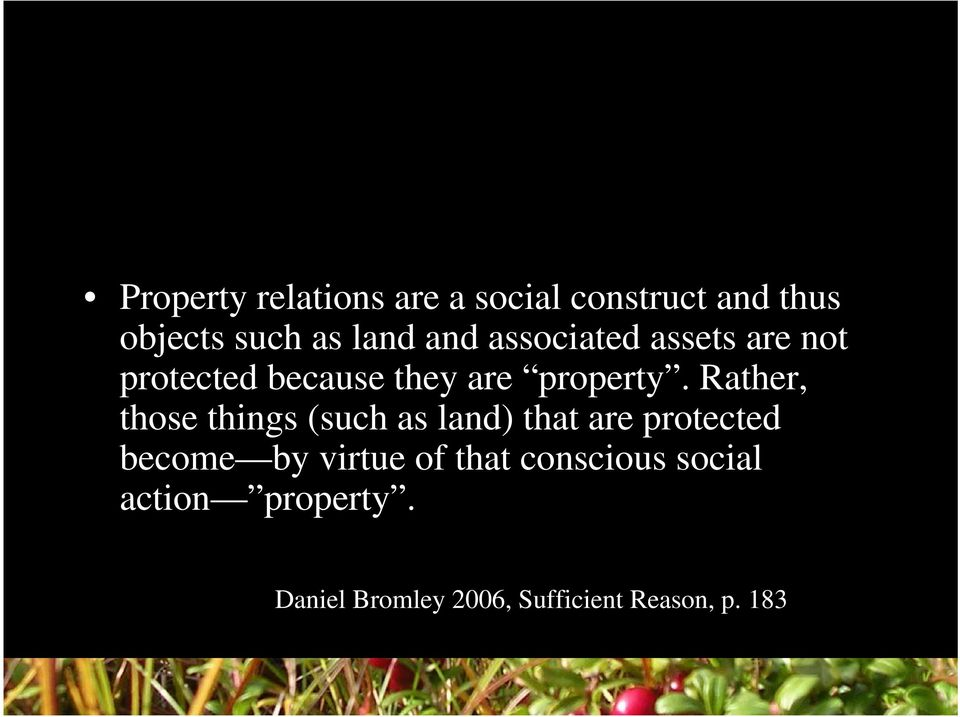 Rather, those things (such as land) that are protected become by virtue of