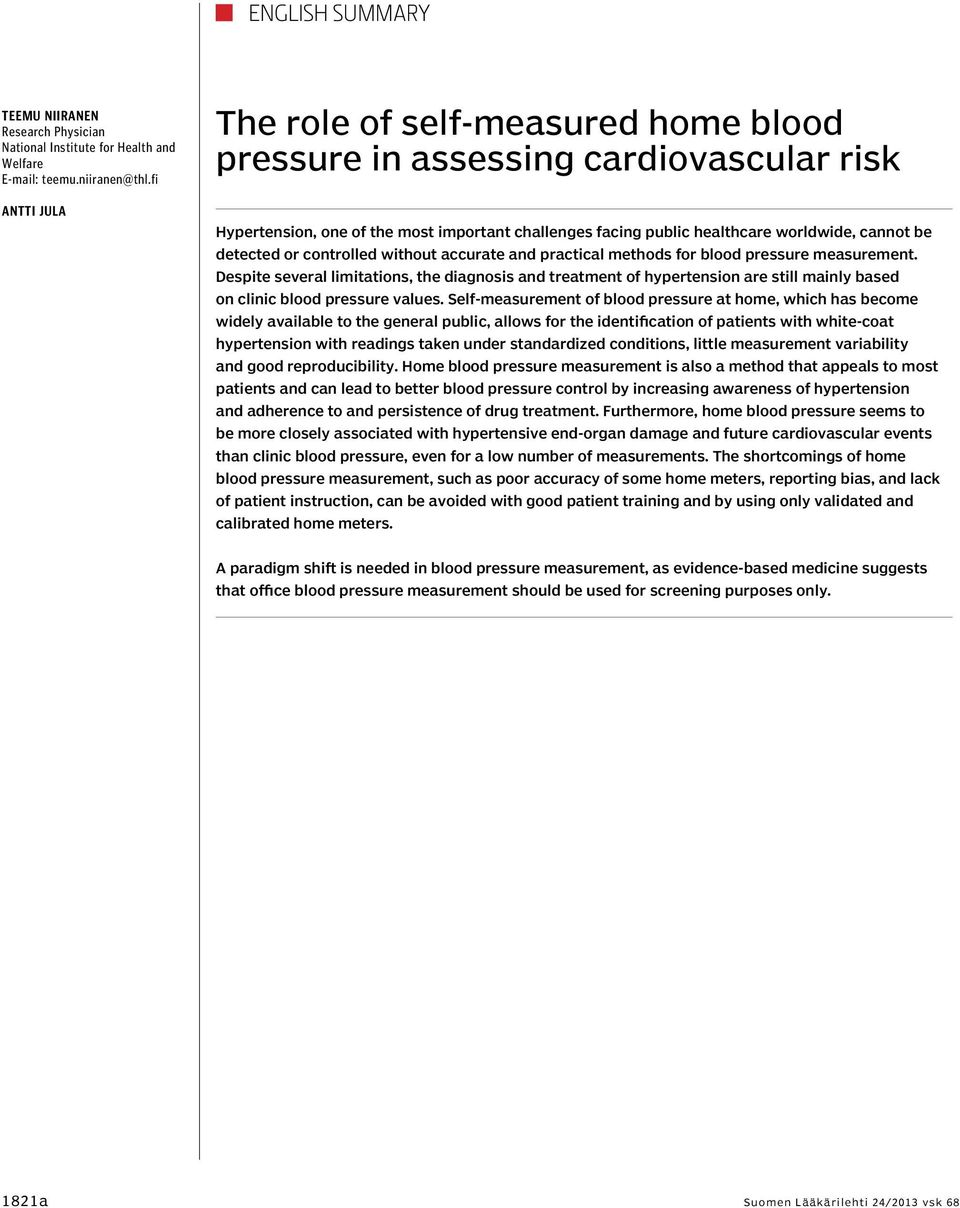 or controlled without accurate and practical methods for blood pressure measurement.