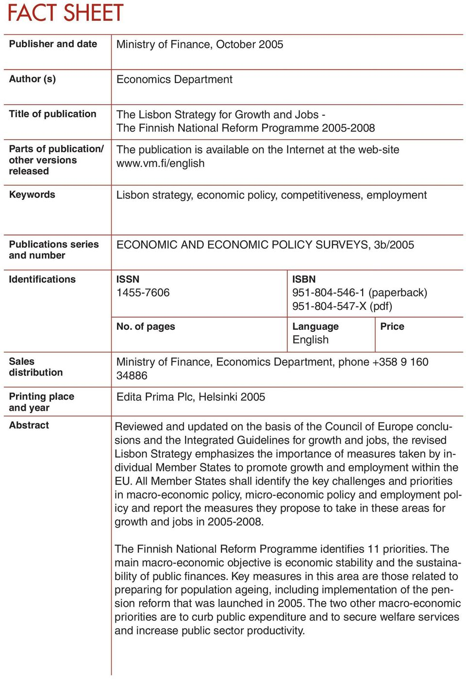 fi/english Lisbon strategy, economic policy, competitiveness, employment Publications series and number ECONOMIC AND ECONOMIC POLICY SURVEYS, 3b/2005 Identifications ISSN 1455-7606 No.