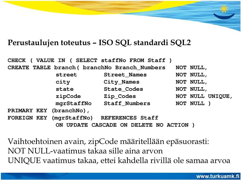 Staff_Numbers NOT NULL ) PRIMARY KEY (branchno), FOREIGN KEY (mgrstaffno) REFERENCES Staff ON UPDATE CASCADE ON DELETE NO ACTION )