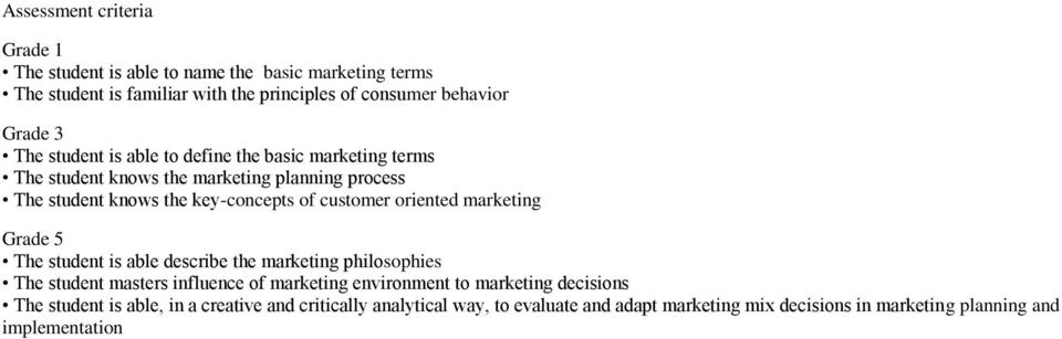 oriented marketing Grade 5 The student is able describe the marketing philosophies The student masters influence of marketing environment to marketing