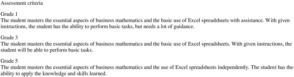 Grade 3 The student masters the essential aspects of business mathematics and the basic use of Excel spreadsheets.