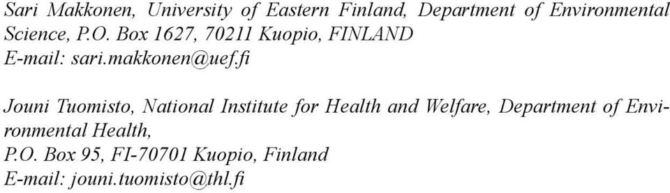 fi Jouni Tuomisto, National Institute for Health and Welfare, Department of