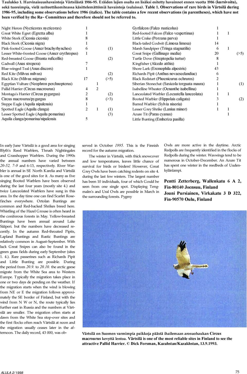 Observations of rare birds in Värtsilä during 1986-95, including some observations before 1986 (italics).