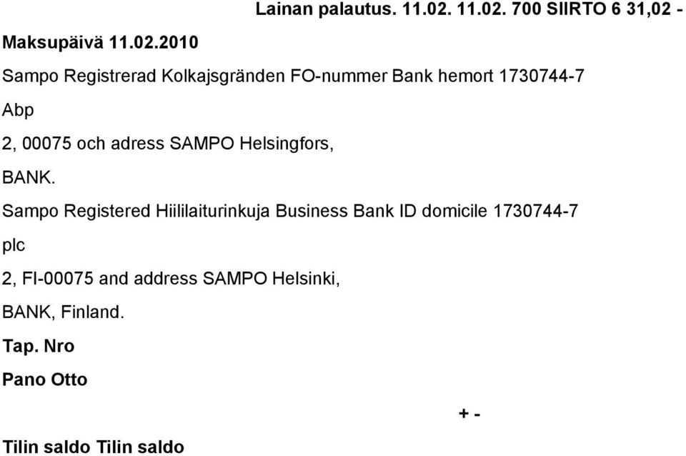 02.2010 Abp BANK.