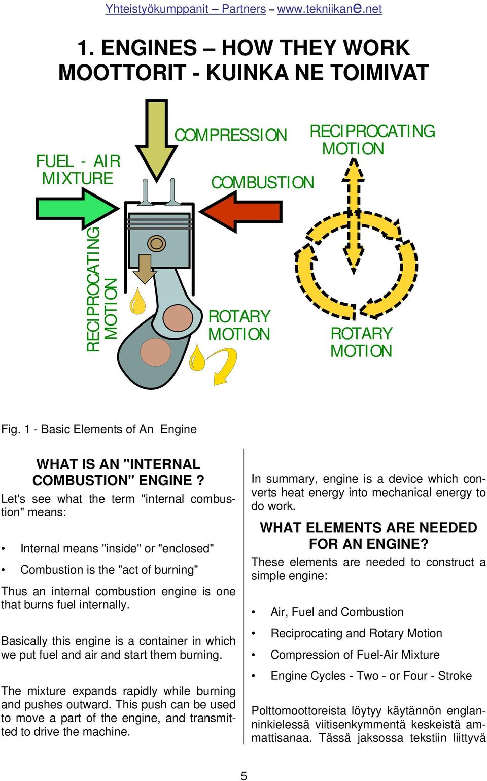 "Let's see what the term ""internal combustion"" means: Internal means ""inside"" or ""enclosed"" Combustion is the ""act of burning"" Thus an internal combustion engine is one that burns fuel internally."