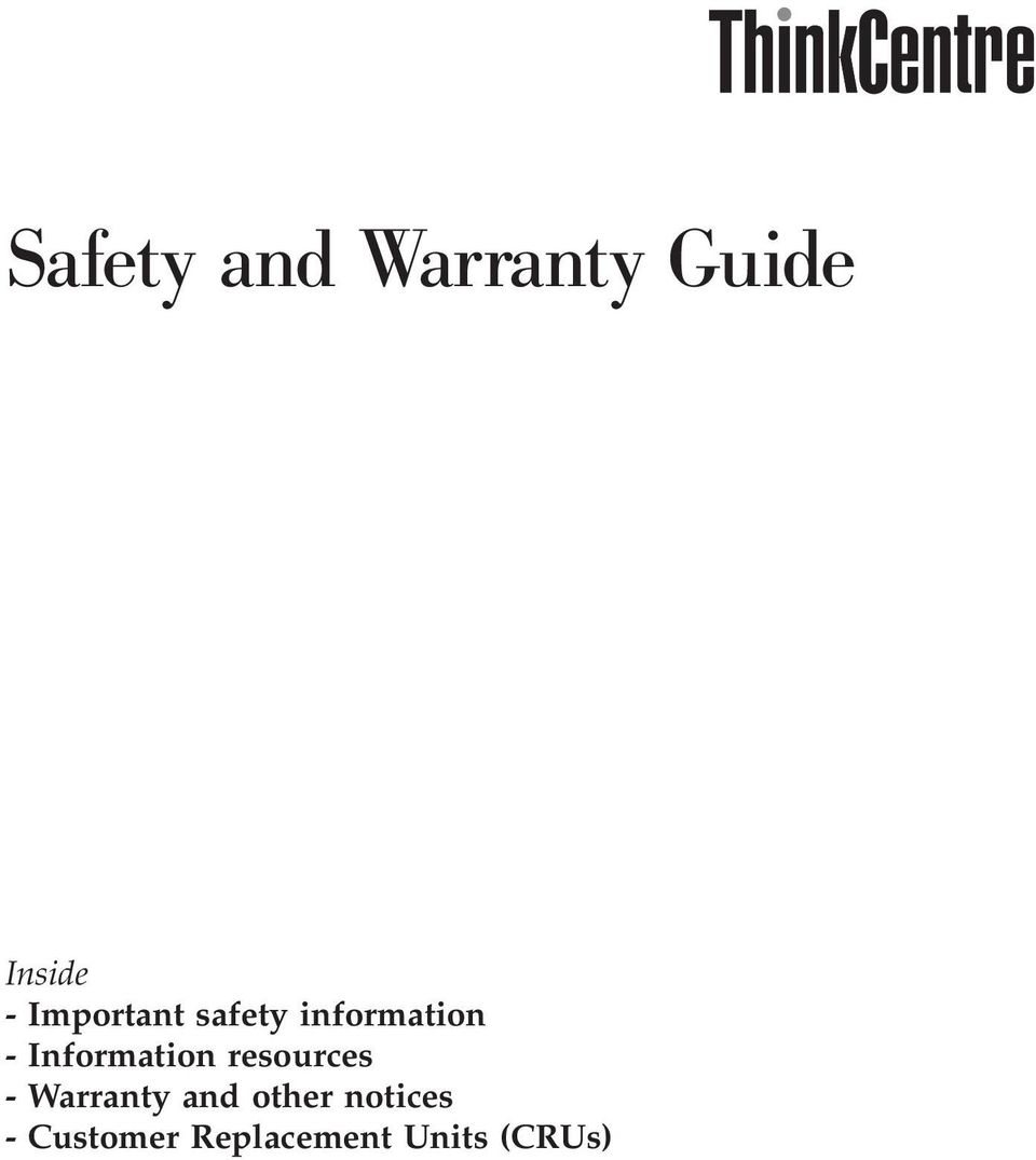 Information resources - Warranty and