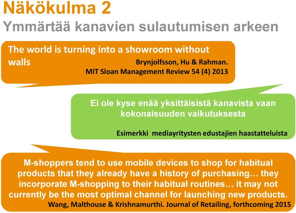 haastatteluista M-shoppers tend to use mobile devices to shop for habitual products that they already have a history of purchasing they incorporate