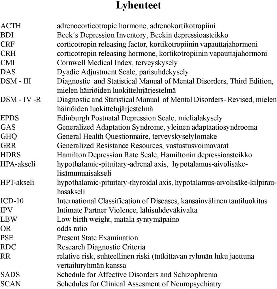 Index, terveyskysely Dyadic Adjustment Scale, parisuhdekysely Diagnostic and Statistical Manual of Mental Disorders, Third Edition, mielen häiriöiden luokittelujärjestelmä Diagnostic and Statistical